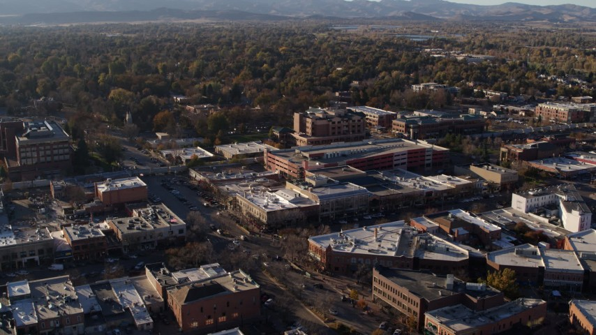 5.7K stock footage aerial video of office buildings, shops, parking garage in Fort Collins, Colorado Aerial Stock Footage | DX0001_002039