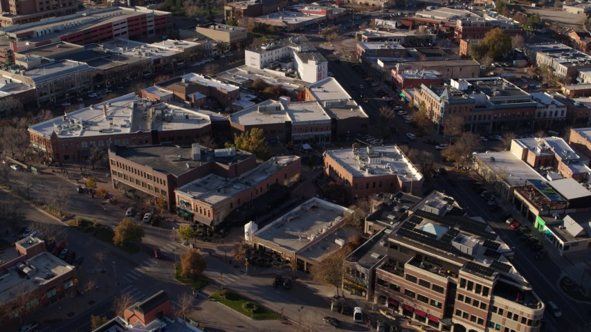 5.7K stock footage aerial video of office buildings and shops in Fort Collins, Colorado Aerial Stock Footage | DX0001_002040