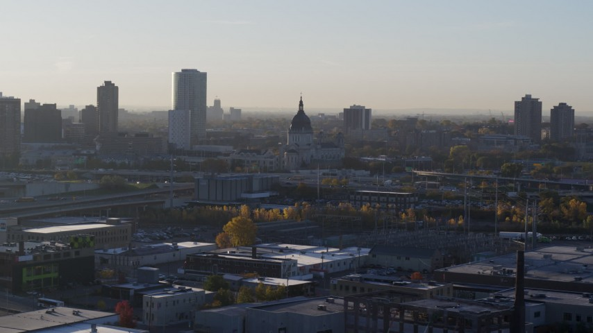 5.7K stock footage aerial video of a domed cathedral at sunrise in Downtown Minneapolis, Minnesota Aerial Stock Footage | DX0001_002088