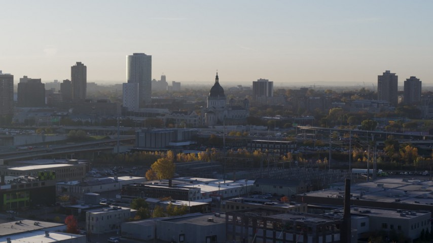 5.7K stock footage aerial video of the domed cathedral at sunrise in Downtown Minneapolis, Minnesota Aerial Stock Footage | DX0001_002089