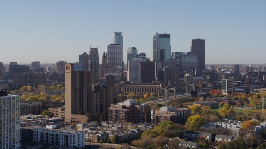 5.7K stock footage aerial video the downtown skyline seen from residential buildings at sunrise in Downtown Minneapolis, Minnesota Aerial Stock Footage | DX0001_002129