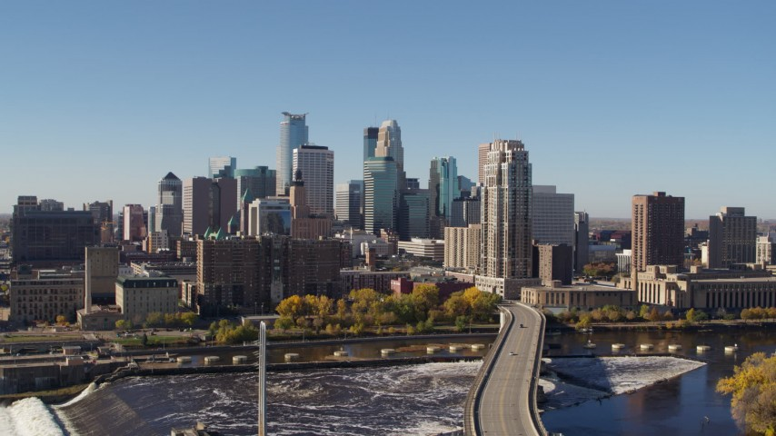5.7K stock footage aerial video a view of the skyline from the river in Downtown Minneapolis, Minnesota Aerial Stock Footage | DX0001_002133