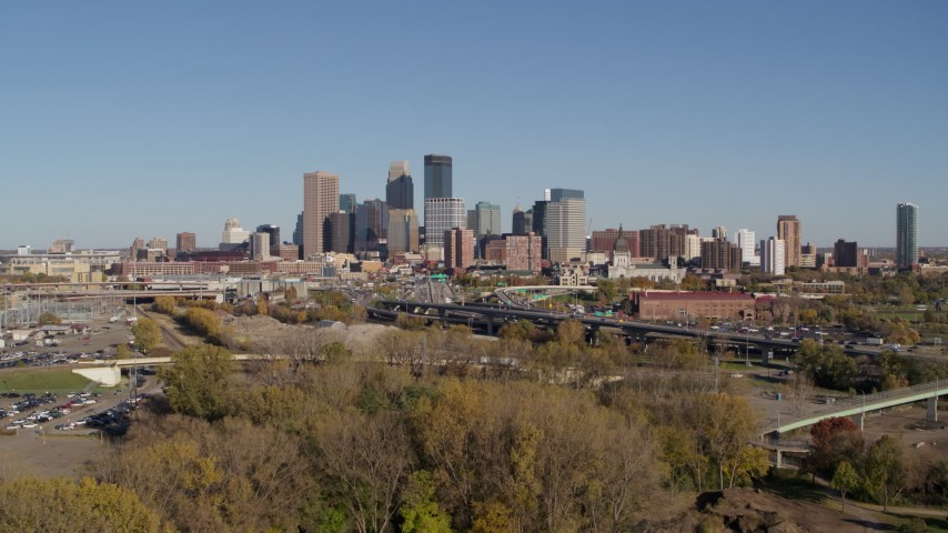 5.7K stock footage aerial video slowly flying by I-394 freeway and the skyline of Downtown Minneapolis, Minnesota Aerial Stock Footage   DX0001_002170