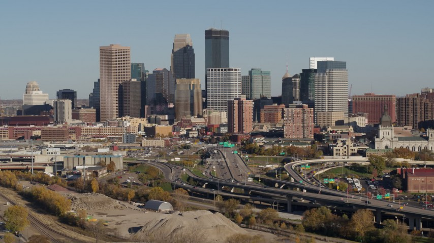 5.7K stock footage aerial video flyby the city skyline behind the I-394 freeway, Downtown Minneapolis, Minnesota Aerial Stock Footage | DX0001_002186