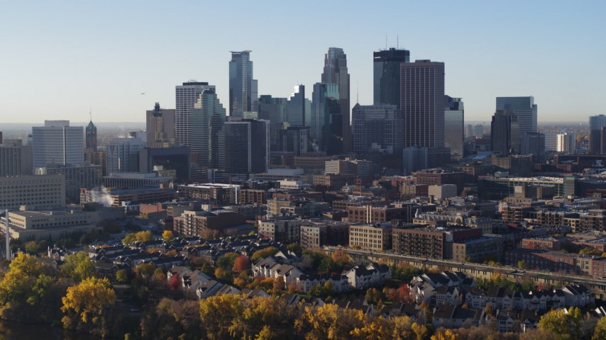 5.7K stock footage aerial video of a view of the skyline seen from the river, Downtown Minneapolis, Minnesota Aerial Stock Footage | DX0001_002333
