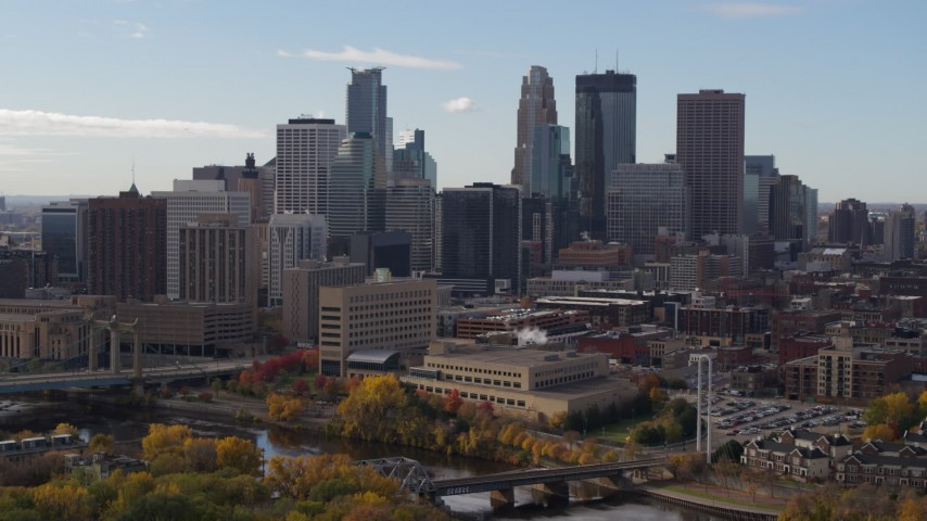 5.7K stock footage aerial video of towering skyscrapers of the city skyline, Downtown Minneapolis, Minnesota Aerial Stock Footage | DX0001_002376