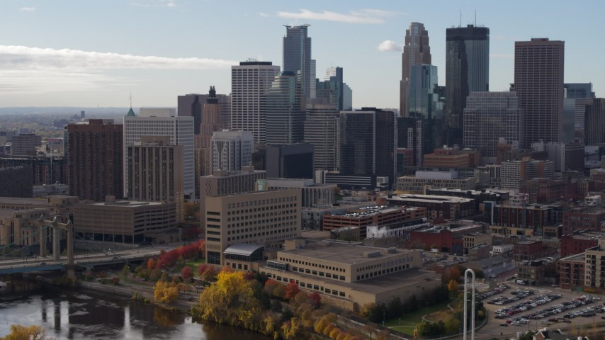 5.7K stock footage aerial video of a view of the towering skyscrapers of the city skyline, Downtown Minneapolis, Minnesota Aerial Stock Footage | DX0001_002378