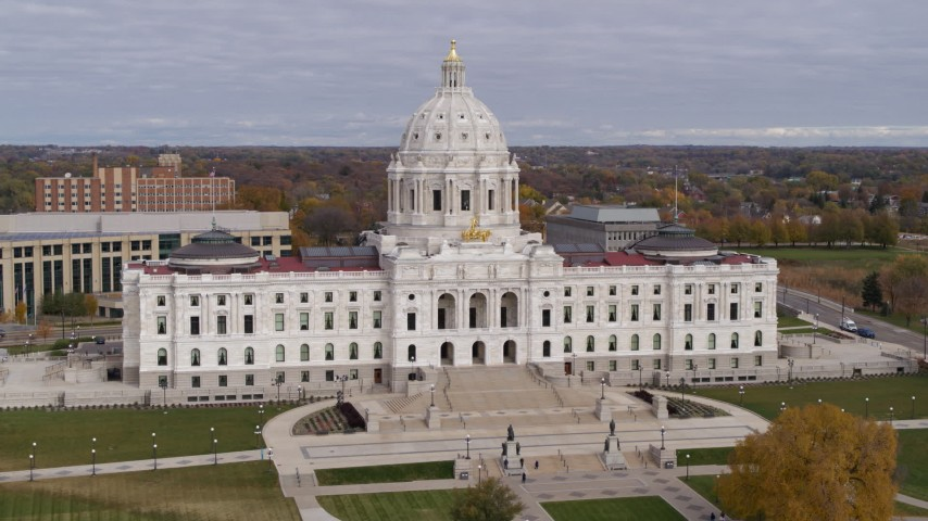 5.7K stock footage aerial video ascend and approach the Minnesota State Capitol in Saint Paul, Minnesota Aerial Stock Footage   DX0001_002383