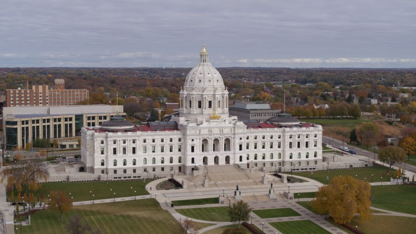 5.7K stock footage aerial video ascend to approach the Minnesota State Capitol in Saint Paul, Minnesota Aerial Stock Footage   DX0001_002389
