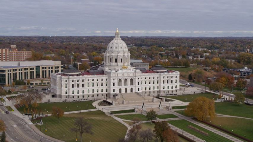 5.7K stock footage aerial video of a stationary view of the Minnesota State Capitol in Saint Paul, Minnesota Aerial Stock Footage   DX0001_002391