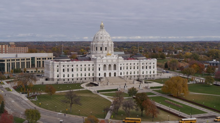 5.7K stock footage aerial video of a view of the Minnesota State Capitol in Saint Paul, Minnesota during descent Aerial Stock Footage   DX0001_002392