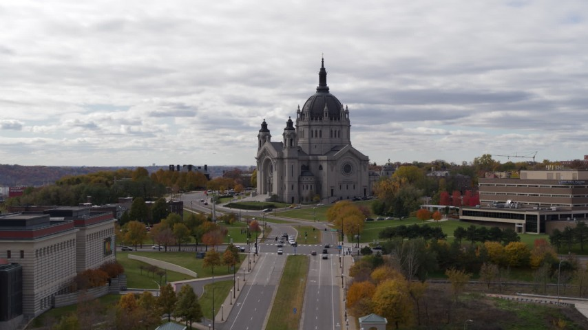 5.7K stock footage aerial video of flying by the Cathedral of Saint Paul, Minnesota during ascent Aerial Stock Footage   DX0001_002398