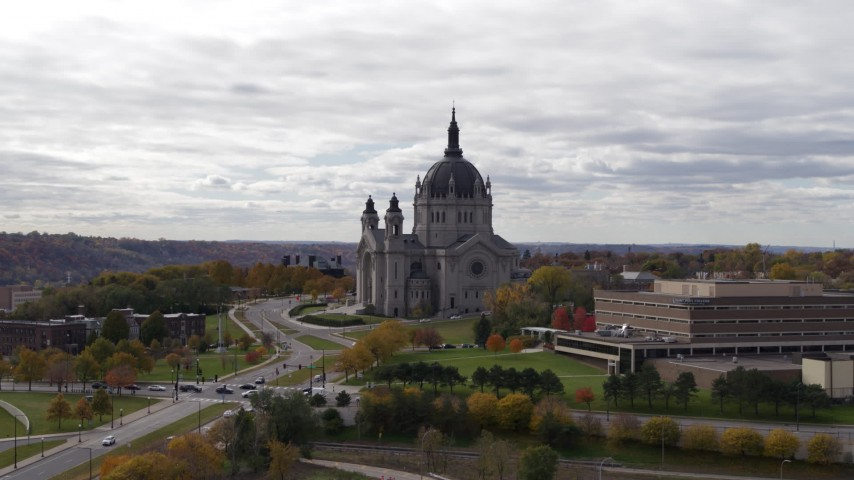 5.7K stock footage aerial video descend and flyby the Cathedral of Saint Paul, Minnesota Aerial Stock Footage | DX0001_002406