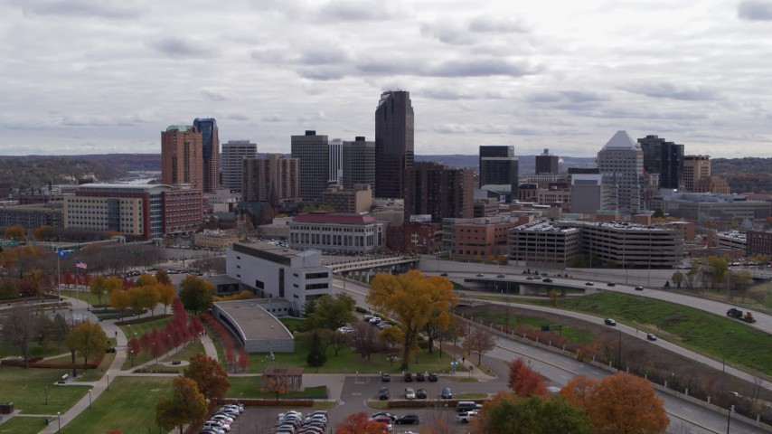 5.7K stock footage aerial video descend with a view of the city's downtown skyline in Downtown Saint Paul, Minnesota Aerial Stock Footage   DX0001_002419