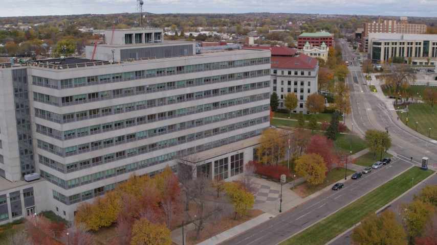 5.7K stock footage aerial video of a government office building in Saint Paul, Minnesota Aerial Stock Footage | DX0001_002425