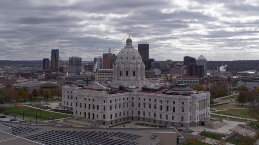 5.7K stock footage aerial video orbit state capitol building with city's skyline in the background, Downtown Saint Paul, Minnesota Aerial Stock Footage   DX0001_002439