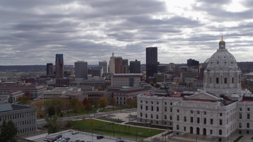 5.7K stock footage aerial video of city's skyline in the distance, seen from state capitol building, Downtown Saint Paul, Minnesota Aerial Stock Footage   DX0001_002440