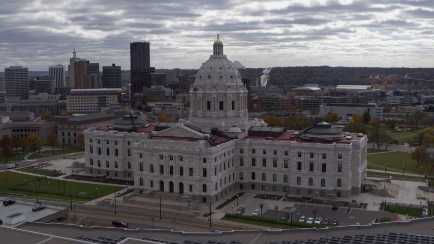 5.7K stock footage aerial video orbit state capitol building, with city skyline in background, Saint Paul, Minnesota Aerial Stock Footage   DX0001_002443