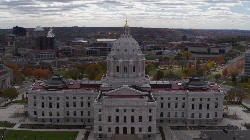 5.7K stock footage aerial video orbit state capitol building, with city skyline and cathedral in background, Saint Paul, Minnesota Aerial Stock Footage   DX0001_002444