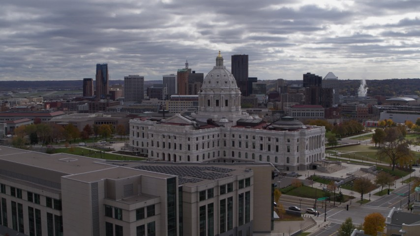 5.7K stock footage aerial video circling the state capitol building, with city skyline visible in background, Saint Paul, Minnesota Aerial Stock Footage   DX0001_002446