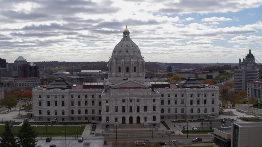 5.7K stock footage aerial video approach state capitol building and ascend, Saint Paul, Minnesota Aerial Stock Footage   DX0001_002447