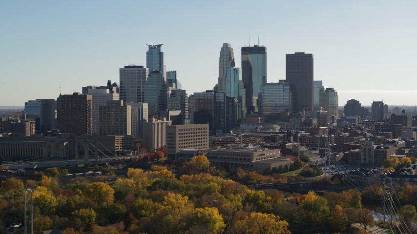 5.7K stock footage aerial video focus on tall skyscrapers while passing the city skyline, Downtown Minneapolis, Minnesota Aerial Stock Footage | DX0001_002478