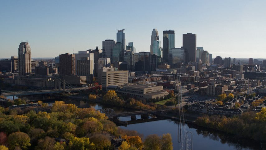 5.7K stock footage aerial video reverse view of the river and the city skyline, Downtown Minneapolis, Minnesota Aerial Stock Footage | DX0001_002488