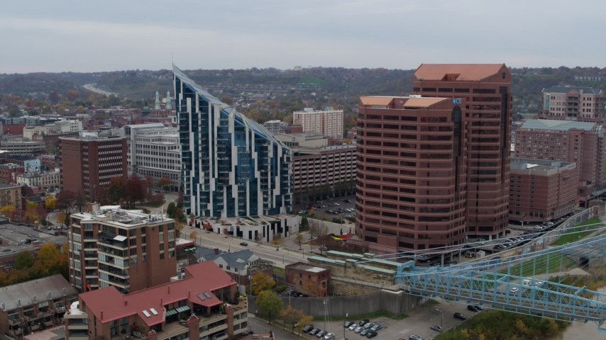 5.7K stock footage aerial video of flying by a condo complex and two riverfront office buildings in Covington, Kentucky Aerial Stock Footage   DX0001_002630