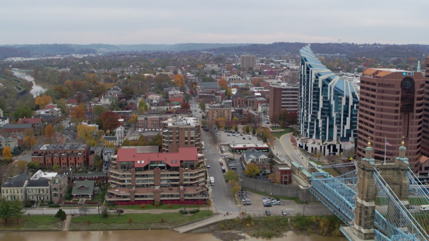 5.7K stock footage aerial video stationary view of brick buildings and condo complex in Covington, Kentucky Aerial Stock Footage | DX0001_002652