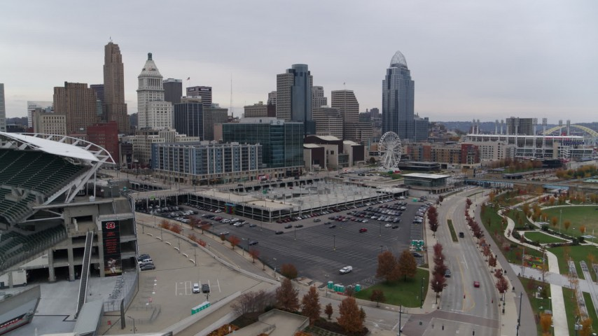 5.7K stock footage aerial video of the city's skyline seen from the football stadium in Downtown Cincinnati, Ohio Aerial Stock Footage | DX0001_002679