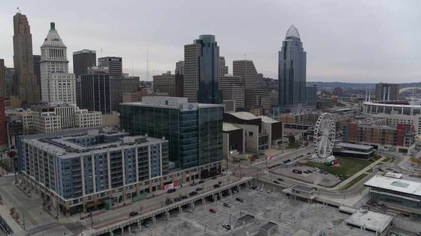 5.7K aerial video flyby apartment and office buildings near skyscrapers in Downtown Cincinnati, Ohio Aerial Stock Footage | DX0001_002688