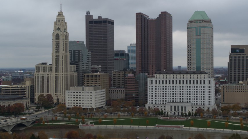 5.7K aerial video four tall skyscrapers in the city's skyline in Downtown Columbus, Ohio Aerial Stock Footage DX0001_002703