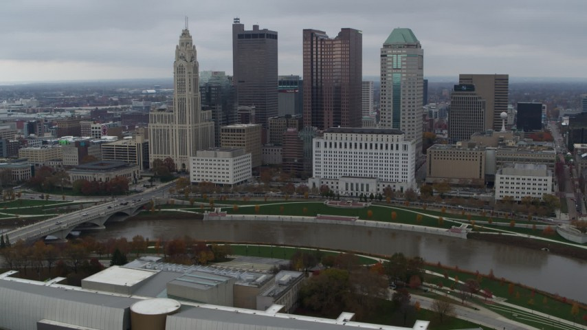 5.7K aerial video fly away from the city's skyline and river, hover for stationary view, Downtown Columbus, Ohio Aerial Stock Footage | DX0001_002729