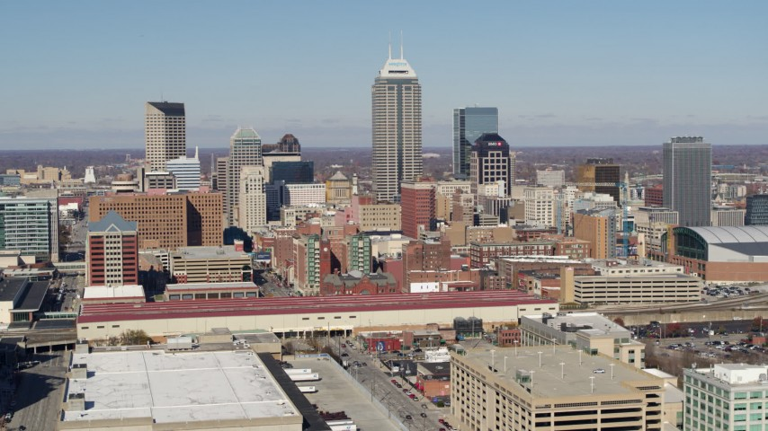 5.7K aerial video of the tall skyscrapers of the city's skyline in Downtown Indianapolis, Indiana Aerial Stock Footage | DX0001_002822