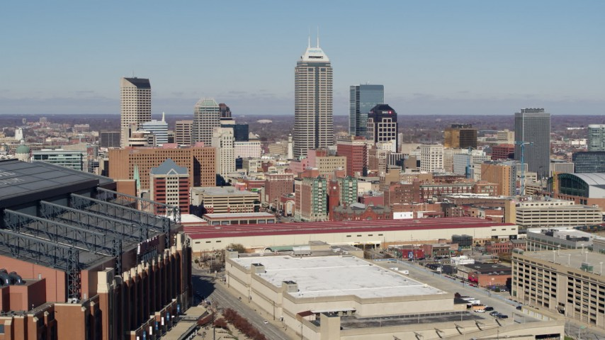 5.7K stock footage aerial video of tall skyscrapers in the city's skyline in Downtown Indianapolis, Indiana Aerial Stock Footage | DX0001_002826