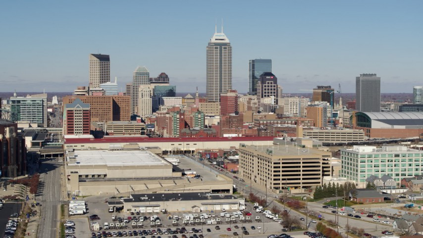 5.7K stock footage aerial video of the tall skyscrapers in the city's skyline in Downtown Indianapolis, Indiana Aerial Stock Footage | DX0001_002827