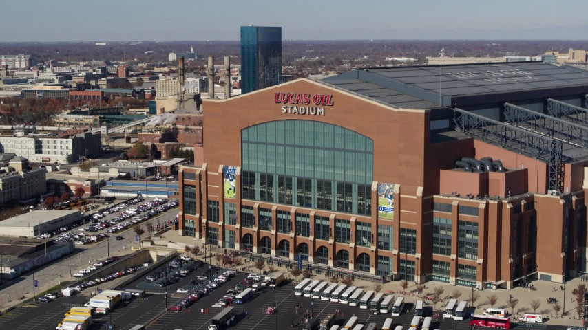 5.7K stock footage aerial video of ascending in front of a football stadium in Indianapolis, Indiana Aerial Stock Footage | DX0001_002835
