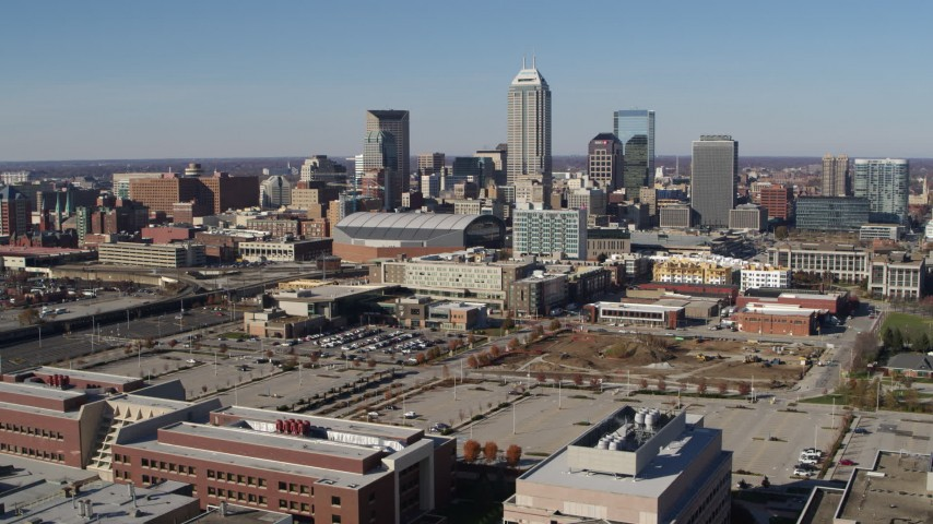 5.7K stock footage aerial video descend and then approach the city's skyline in Downtown Indianapolis, Indiana Aerial Stock Footage | DX0001_002841