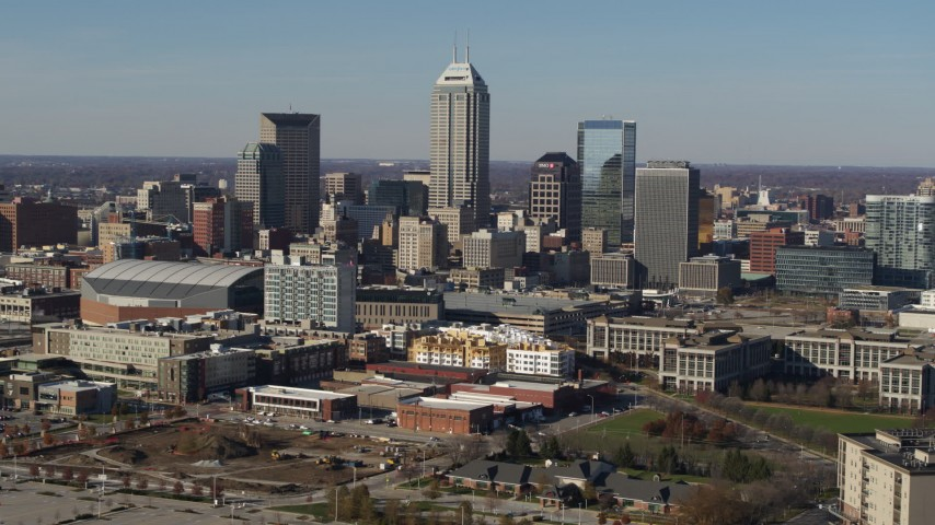 5.7K stock footage aerial video of tall skyscrapers in the city's skyline in Downtown Indianapolis, Indiana Aerial Stock Footage | DX0001_002855