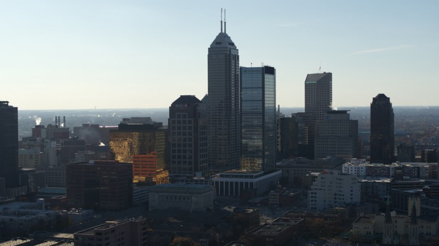 5.7K stock footage aerial video slowly flying by the towering skyscrapers in the city's skyline in Downtown Indianapolis, Indiana Aerial Stock Footage | DX0001_002870