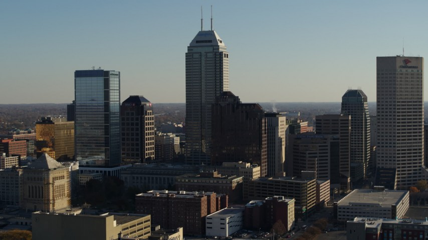 5.7K stock footage aerial video Salesforce Tower skyscraper at the center of Downtown Indianapolis, Indiana Aerial Stock Footage | DX0001_002876
