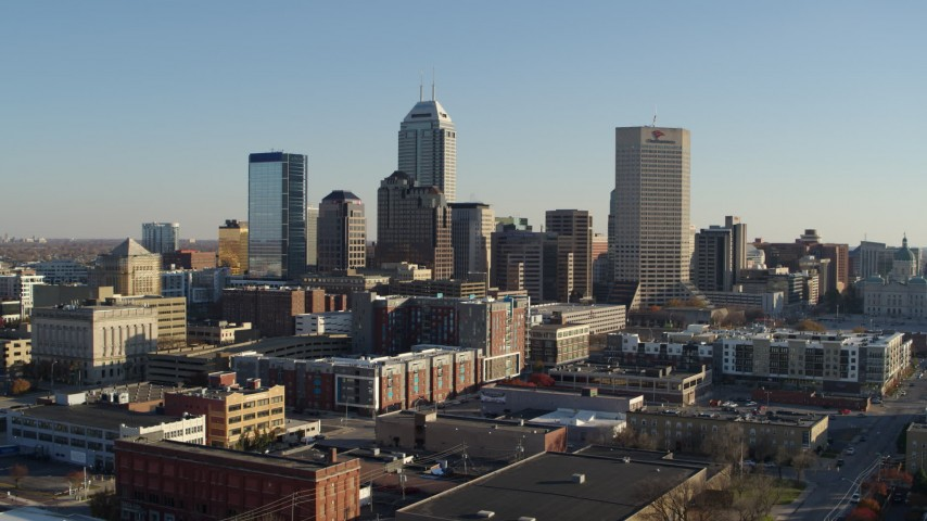 5.7K aerial video ascend with view of skyline in Downtown Indianapolis, Indiana Aerial Stock Footage | DX0001_002890