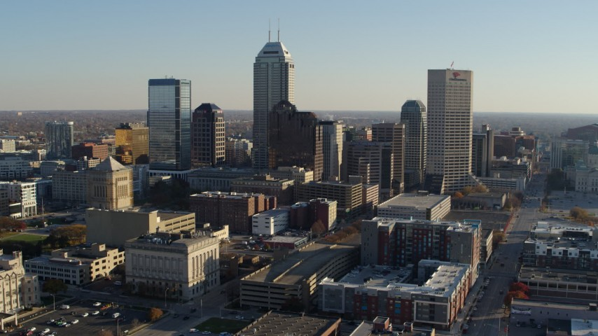 5.7K aerial video flyby and approach the skyline in Downtown Indianapolis, Indiana Aerial Stock Footage | DX0001_002894