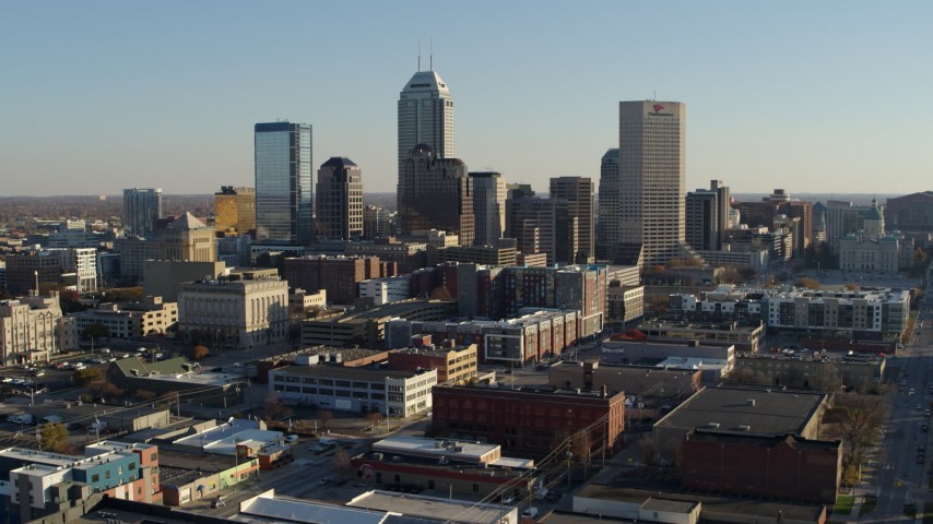 5.7K stock footage aerial video of the skyline's tall skyscrapers in Downtown Indianapolis, Indiana Aerial Stock Footage | DX0001_002897