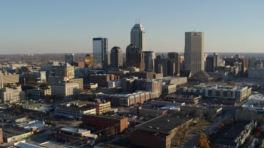 5.7K stock footage aerial video of the skyline's tall skyscrapers in Downtown Indianapolis, Indiana Aerial Stock Footage | DX0001_002902