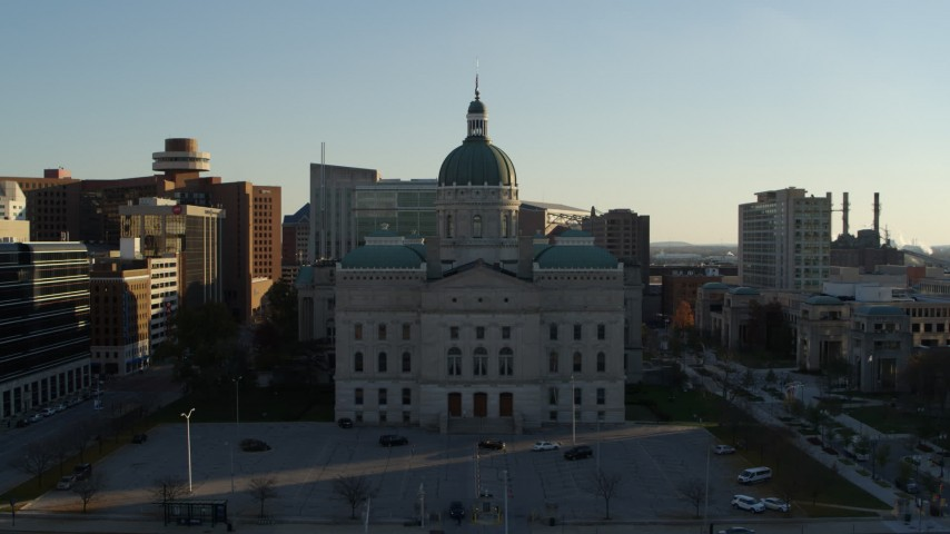 5.7K stock footage aerial video flying by the Indiana State House in Downtown Indianapolis, Indiana Aerial Stock Footage | DX0001_002906