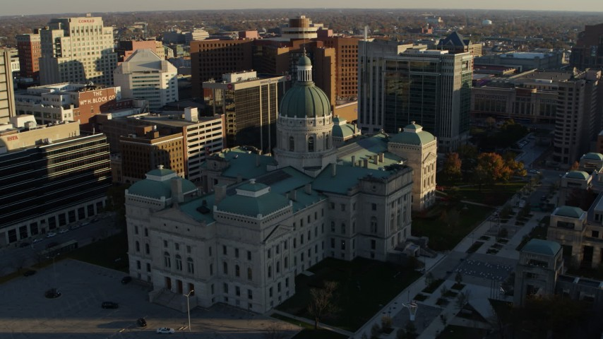 5.7K stock footage aerial video ascend and orbit the Indiana State House in Downtown Indianapolis, Indiana Aerial Stock Footage | DX0001_002907