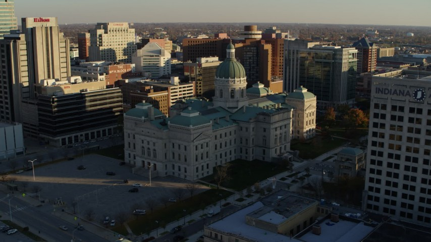 5.7K aerial video orbit the Indiana State House in Downtown Indianapolis, Indiana Aerial Stock Footage | DX0001_002908