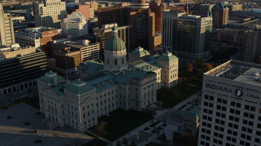 5.7K stock footage aerial video orbit around the Indiana State House in Downtown Indianapolis, Indiana Aerial Stock Footage | DX0001_002911