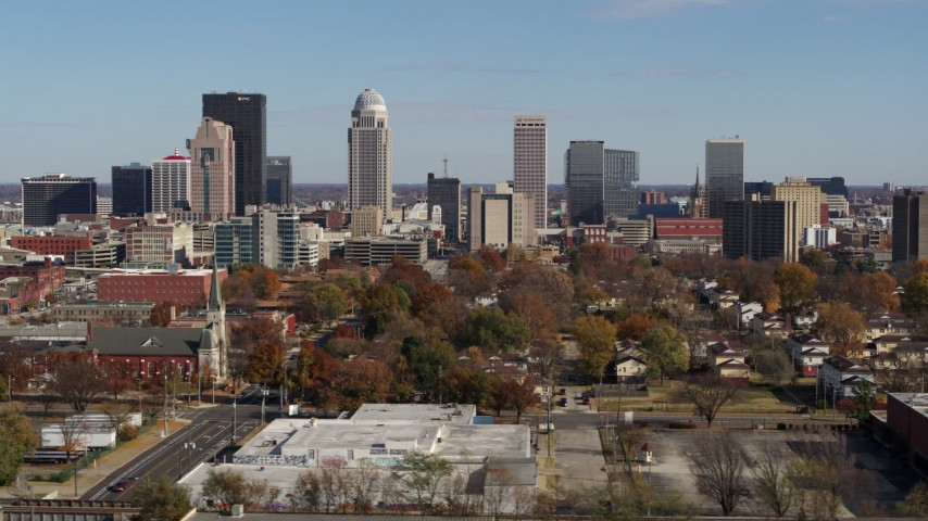 5.7K stock footage aerial video of a view of the city's skyline during ascent, Downtown Louisville, Kentucky Aerial Stock Footage | DX0001_002978